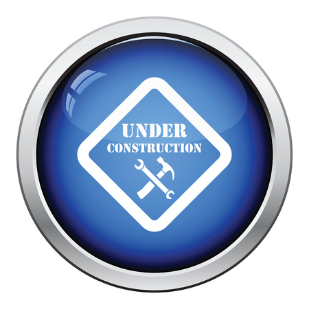 mending: Icon of Under construction. Glossy button design. Vector illustration. Illustration