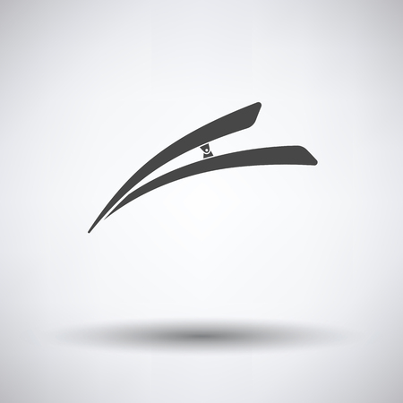 hairpin: Hair clip icon on gray background, round shadow. Vector illustration.