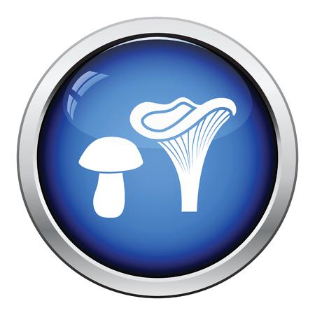 button mushroom: Mushroom  icon. Glossy button design. Vector illustration.