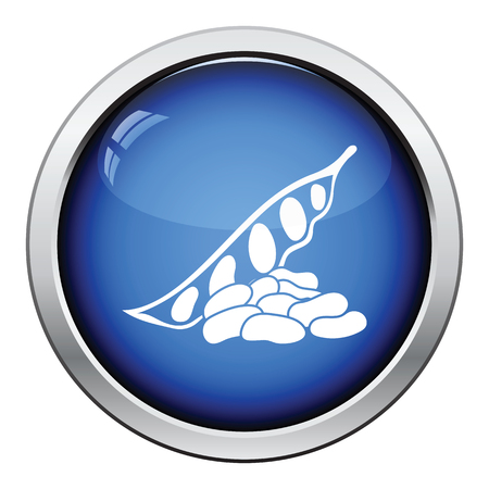 Beans icon. Glossy button design. Vector illustration.
