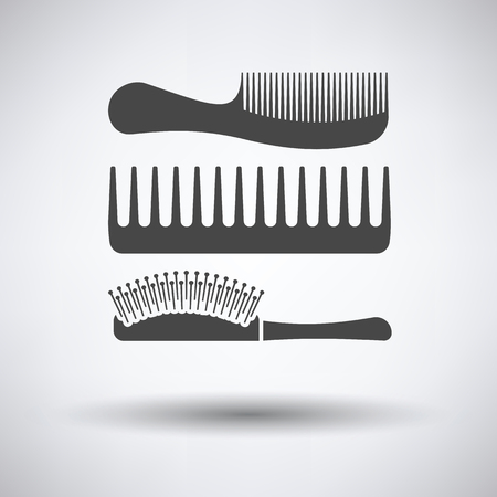 Hairbrush icon on gray background, round shadow. Vector illustration.