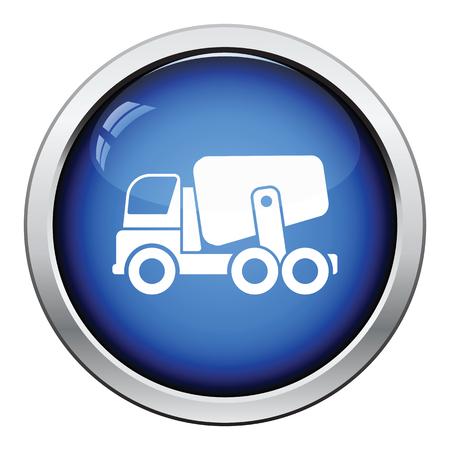concrete mixer truck: Icon of Concrete mixer truck . Glossy button design. Vector illustration. Illustration