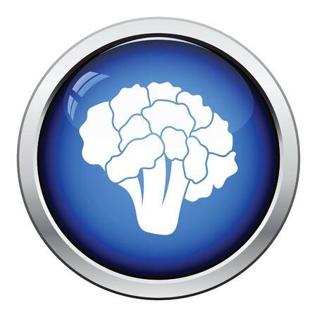 cauliflower: Cauliflower icon. Glossy button design. Vector illustration. Illustration
