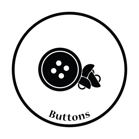 sewing buttons: Sewing buttons icon. Thin circle design. Vector illustration.
