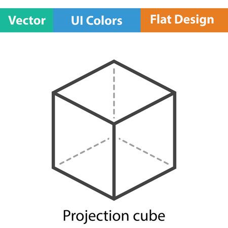 perspectiva lineal: Cubo con el icono de proyección. diseño de color plano. Ilustración del vector.