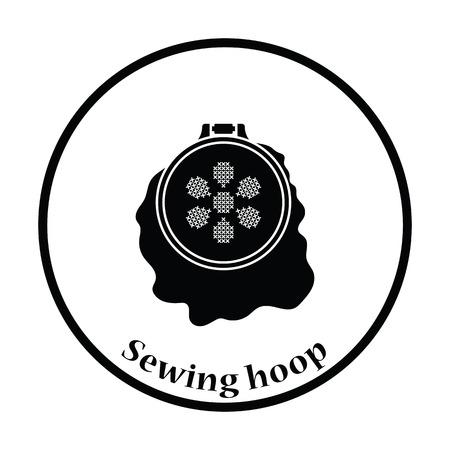 stitchery: Sewing hoop icon. Thin circle design. Vector illustration. Illustration