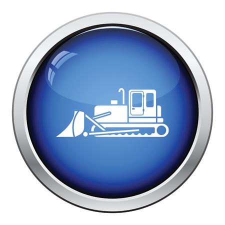 dredger: Icon of Construction bulldozer. Glossy button design. Vector illustration. Illustration