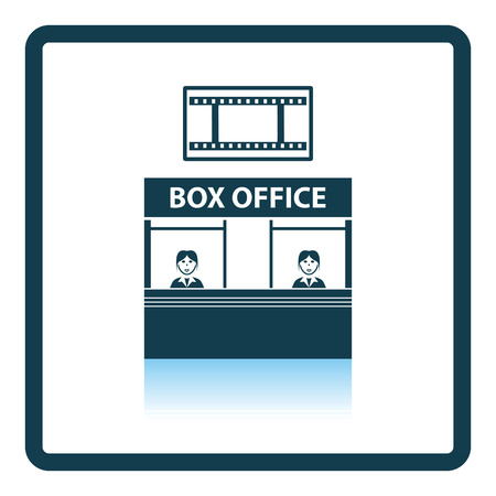 shop show window: Box office icon. Shadow reflection design. Vector illustration.
