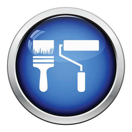 glossy: Icon of construction paint brushes. Glossy button design. Vector illustration.