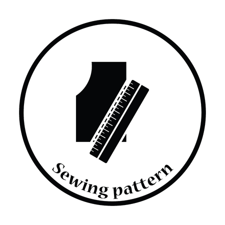 sewing pattern: Sewing pattern icon. Thin circle design. Vector illustration.