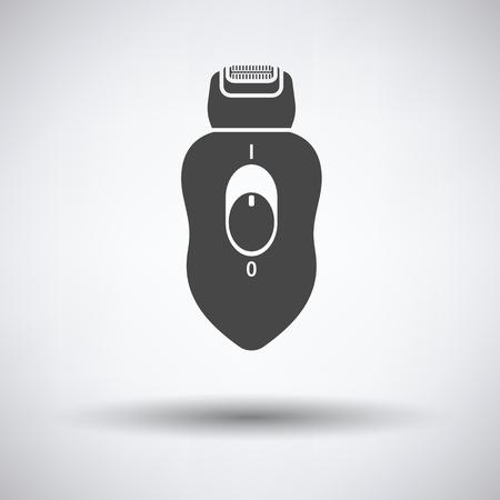 epilator: Depilator icon on gray background, round shadow. Vector illustration.