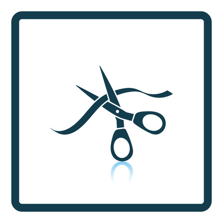 unveil: Ceremony ribbon cut icon. Shadow reflection design. Vector illustration.