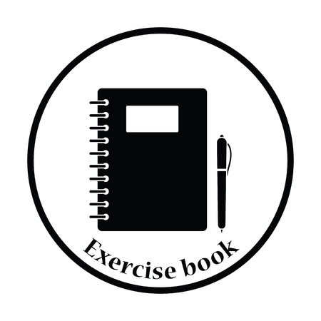 exercise book: Icon of Exercise book. Thin circle design. Vector illustration. Illustration