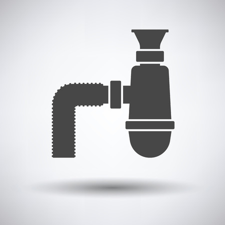 canalization: Bathroom siphon icon on gray background, round shadow. Vector illustration. Illustration