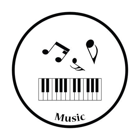 octaves: Icon of Piano keyboard. Thin circle design. Vector illustration.