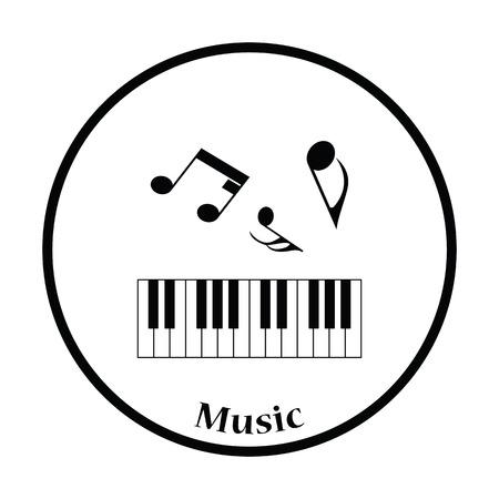 octaves: Icon of Piano keyboard. Thin circle design. Vector illustration.