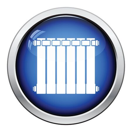 thawing: Icon of Radiator. Glossy button design. Vector illustration.