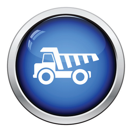 tipper: Icon of tipper. Glossy button design. Vector illustration.