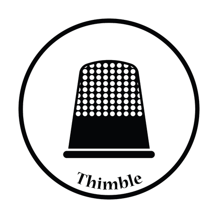 hem: Tailor thimble icon. Thin circle design. Vector illustration.