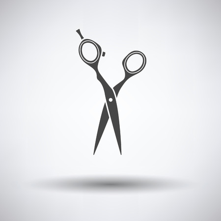 Hair scissors icon on gray background, round shadow. Vector illustration.