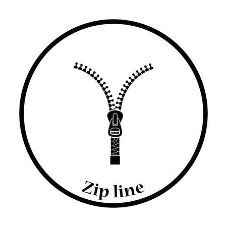 unzip: Sewing zip line icon. Thin circle design. Vector illustration.