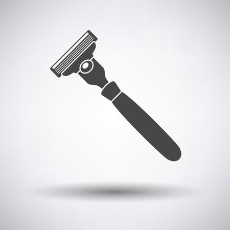 Sécurité rasoir icône sur fond gris, ombre ronde. Vector illustration.