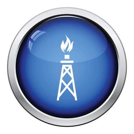 petroleum blue: Gas tower icon. Glossy button design. Vector illustration.