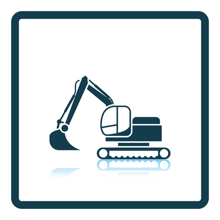 dredger: Icon of construction excavator. Shadow reflection design. Vector illustration. Illustration