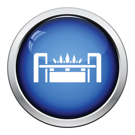 gas burner: Gas burner icon. Glossy button design. Vector illustration.