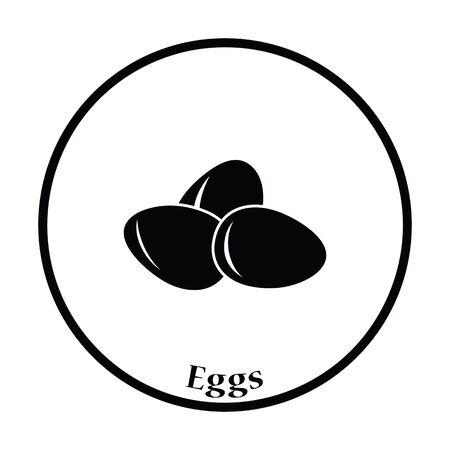 gallina con huevos: icono de los huevos. diseño del círculo delgada. Ilustración del vector.
