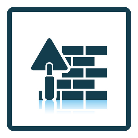 plasterer: Icon of brick wall with trowel. Shadow reflection design. Vector illustration.