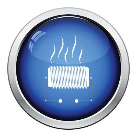 single coil: Electrical heater icon. Glossy button design. Vector illustration.