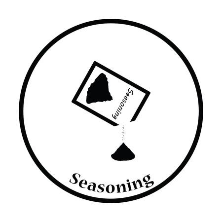 seasoning: Seasoning package icon. Thin circle design. Vector illustration. Illustration