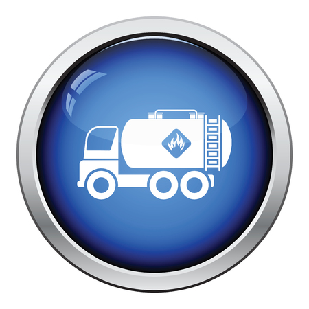 tanque de combustible: Fuel tank truck icon. Glossy button design. Vector illustration.