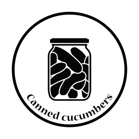 cucumbers: Canned cucumbers icon. Thin circle design. Vector illustration.