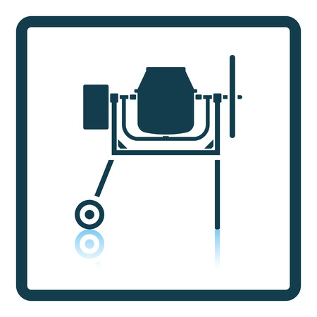 worksite: Icon of Concrete mixer. Shadow reflection design. Vector illustration.