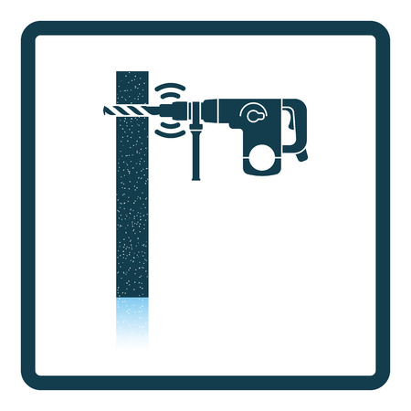 perforator: Icon of perforator drilling wall. Shadow reflection design. Vector illustration. Illustration