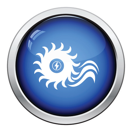 hydroelectricity: Water turbine icon. Glossy button design. Vector illustration.