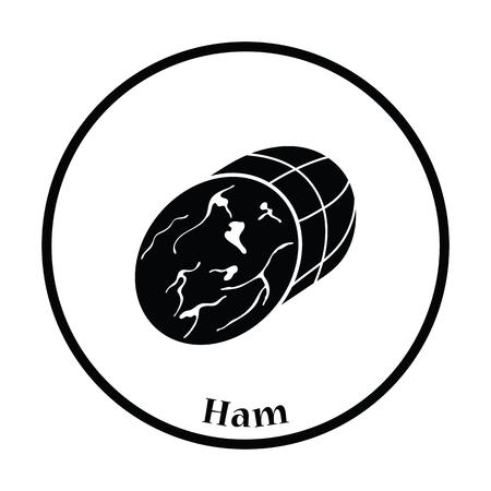 shin: Ham icon. Thin circle design. Vector illustration.