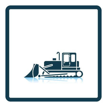 dredger: Icon of Construction bulldozer. Shadow reflection design. Vector illustration. Illustration