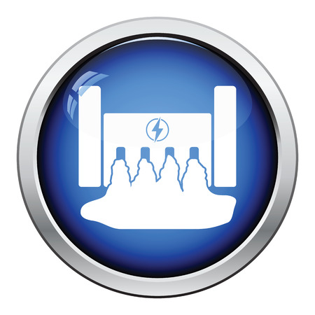 hydro power: Hydro power station icon. Glossy button design. Vector illustration.