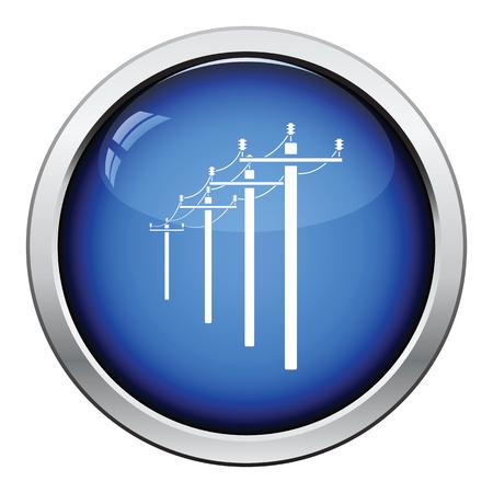 powerline: High voltage line icon. Glossy button design. Vector illustration.