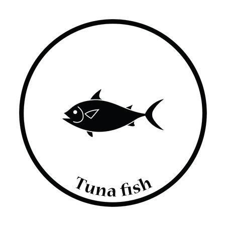 tail: Fish icon. Thin circle design. Vector illustration.