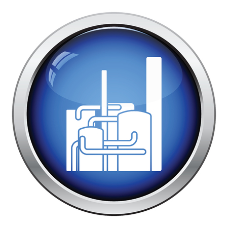 chemical plant: Chemical plant icon. Glossy button design. Vector illustration. Illustration