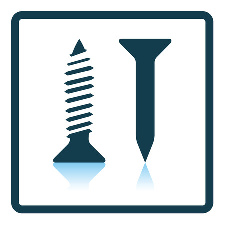 screws: Icon of screw and nail. Shadow reflection design. Vector illustration.