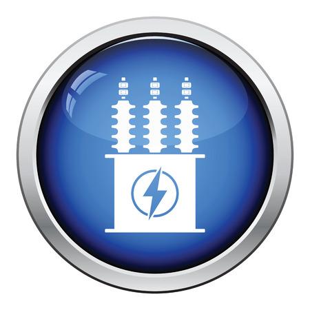 Electric Transformer Icon. Glossy Button Design. Vector Illustration ...