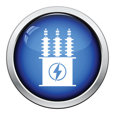 electric grid: Electric transformer icon. Glossy button design. Vector illustration. Illustration