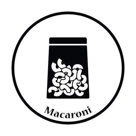 thin shell: Macaroni package icon. Thin circle design. Vector illustration.