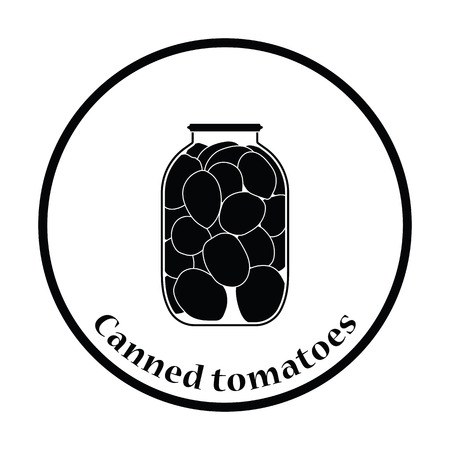 canned: Canned tomatoes icon. Thin circle design. Vector illustration.