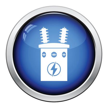 Electric transformer icon. Glossy button design. Vector illustration.